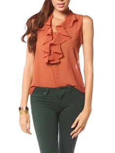 Papaya Clothing Online :: FRONT RUFFLE TRIM CHIFFON BLOUSE $13.99