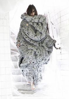 3D Knitwear - cocooning dress; wearable art; sculptural fashion // Johan Ku