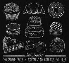 Chalkboard Cake Clipart Digital Instant от SketchyArchitect