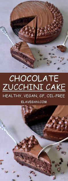 Chocolate zucchini cake recipe which is healthy, vegan, gluten-free, refined sugar-free, egg-free, dairy-free and oil-free. This healthy vegan chocolate cake is rich, fudgy, easy to make and delicious