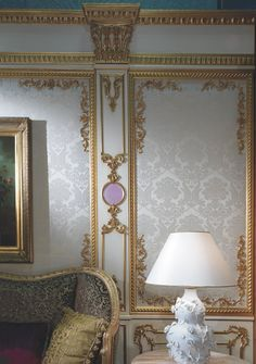 updated baroque-style paneling and wall pattern together; note: this is Italian not French style