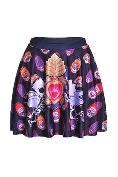Womens Stylish Skeleton Digital Print Elastic Waist Mini Skirt Red
