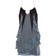 Haider Ackermann Ruffled crepe-paneled silk-chiffon mini dress (17.605.345 IDR) ❤ liked on Polyvore featuring dresses, blue, blue mini dress, haider ackermann, short ruffle dress, crepe dress i frilly dress