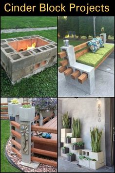 Block Projects What's great about cinder blocks is that they're affordable building materials that you can get from any hardware store.What's great about cinder blocks is that they're affordable building materials that you can get from any hardware store. Backyard Patio, Backyard Landscaping, Landscaping Ideas, Pallet Patio, Modern Landscaping, Diy Pallet, Cinder Block Furniture, Cinder Block Garden, Cinder Block Bench