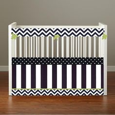 Crib bedding mini crib baby bedding Crib Set- Bumpers/Sheet/Skirt- Navy Chevron, Dot, Stripes and Lime on Etsy, $245.00