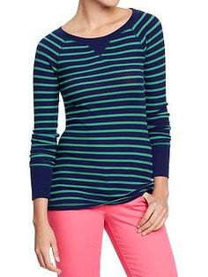 Women's Waffle-Knit Crew Tees | Old Navy