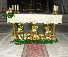 Altar Flowers, Church Flower Arrangements, Church Flowers, Altar Decorations, Gerbera, Baby Shower Favors, Art Floral, Home Decor, Gardening