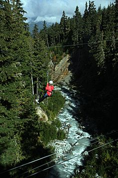 Ziplining over one of the rivers