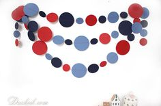 ~ Marine Party Garland, Blue Red Wall Decor, Boys Room Decoration, 14 feet ~  Add a glamorous touch to your party or baby shower with this Nautical paper garland! You can decorate any space with it - not only the party walls or table, but your bedroom, kids room, living room or even your workspace. This totally handmade paper garland consists of numerous circles, made of blue, dark blue and red cardstock, stitched together with threat in suitable color.  ----- Length: approx 14 feet Size of ... Boys Room Decor, Bedroom Kids, Kids Room, 2nd Birthday, Birthday Ideas, Red Wall Decor, Party Garland, Red Walls, Circles