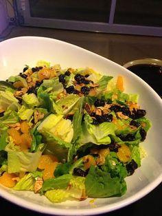 Salad with Mandarin Oranges, Dried Cherries, Candied Almonds & Sorghum Pomegranate Vinaigrette #crushediceevents