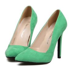 Pointed Thin High Heel Night Club Candy's Color Thin Shoes green 35