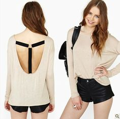 East Knitting fashion haoduoyi-089 2013 new  women  knitted shirt full sleeve t shirts with T shape belt in back free shipping $15.33