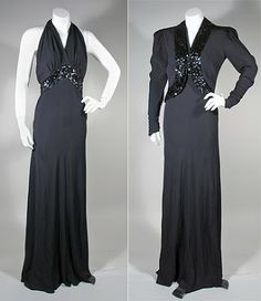 1930s Vintage Black Crepe Halter Evening Dress and Jacket with Sequins