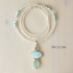 Necklace Chalcedony Larimar Topaz Pearls Pendant Woman Blue Trendy Gemstone Beaded necklace Statement necklace Necklace by Napoleonka on Etsy  #larimar #topaz #халцедон