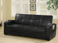 This casual Coaster 300132 Baseball Stictch Black Pull-out Futon Sofa Bed will be a nice addition to your home, helping you make the most of your space. In a luxurious black faux leather with white accent stitching, this sofa will create a bold look.