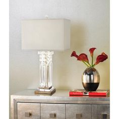 The hanging crystals and metal accents on this contemporary table lamp give it the lavish and elegant style. Takes one 150 watt standard base bulb (not included). Style # at Lamps Plus. Contemporary Table Lamps, Modern Table, Hanging Crystals, Light Fixtures, Euro, Lighting, Hollywood Regency, Inspiration, Bedroom