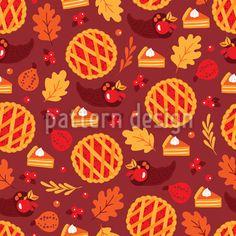 Pumpkin Cherry Cake Seamless Pattern by Mylana Musiienko at patterndesigns.com Vector Pattern, Pattern Design, Cherry Cake, Warm Colors, Surface Design, Berries, Pumpkin, Floral, Autumn