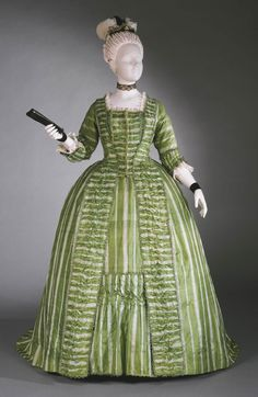 1770-80 Woman's Dress (Robe à la française) with Attached Stomacher and Matching Petticoat, Philadelphia Museum of Art