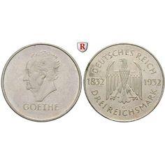 Weimarer Republik, 3 Reichsmark 1932, Goethe, G, ss-vz/vz, J. 350: 3 Reichsmark 1932 G. Goethe. J. 350; sehr schön-vorzüglich /… #coins