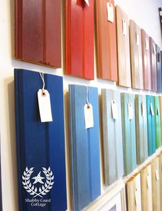 We finished hanging the Sample Boards in Chalk Paint (TM) by Annie Sloan on the wall of the Shop and they look Fabulous!