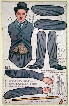 Lots of antique paper dolls and paper toys to make - Joyce hamillrawcliffe - Picasa Web Albums Charlie Chaplin Paper Puppets, Paper Toys, Paper Art, Paper Crafts, Diy Paper, Paper People, People Art, Charlie Chaplin, Vintage Paper Dolls