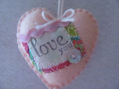 Pink Shabby Chic Christmas Heart Ornament by GTcottagecrafts, $4.99