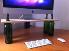 Wine Bottle Computer Monitor Stand by StandingDesks on Etsy, $89.00