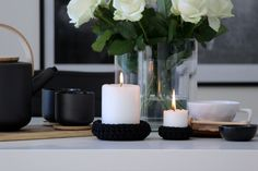 Little & Large Chunky Crochet Candle Holders / Small Basket (Vera design) - Black by ClarityMakes on Etsy
