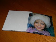 Make picture coasters with leftover tile.