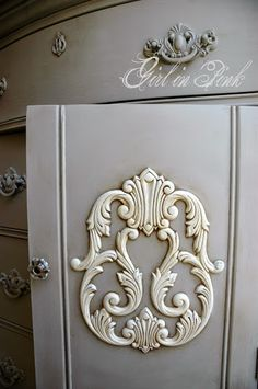 Reproduction dresser with antique charm.  Painted in a custom mix of French Linen and Old White Chalk Paint®, accented in Old White and waxed with both Clear and Dark Waxes.