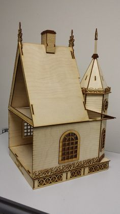 Laser 3d puzzle custom factory laser craft pinterest for Piani di casa cottage gotico