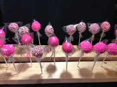 Miss myah my 5 yr old neighbour wanted to help make pink cake pops for her birthday party. She was so proud!