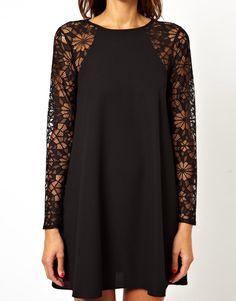 Black Contrast Lace Long Sleeve Chiffon Dress - Sheinside.com
