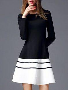 426cc7e24d4 Black-white Cotton-blend Long Sleeve Color-block Crew Neck Midi Dress Casual