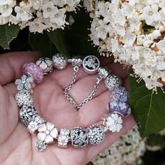 Pandora spring flower charm bracelet with 15 pcs charms /safety chain #jewelrygram #jewelryinspo #accessories #fashionaccessories