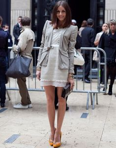 Street Style: Paris Fashion Week  Olivia Palermo's gorgeous pumps add a splash of color to her elegant neutrals.
