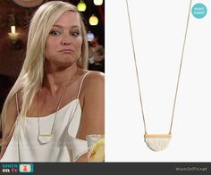 Sharon's white fringe necklace on The Young and the Restless.  Outfit Details: https://wornontv.net/77063/ #TheYoungandtheRestless
