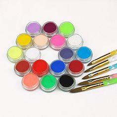 Mode Galerie 18 couleurs Poudre Acrylique Poussière avec 5 pcs Cristal Brosses Pinceaux Ongles Nail Art Kit: Tweet Détails du produit Pro…