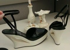 Vintage Salvatore Ferragamo White Patent Leather Wedges Platforms with Ankle strap