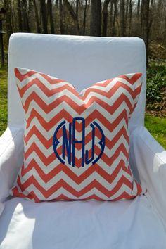 Monogrammed Chevron Pillow Cover...great color combo