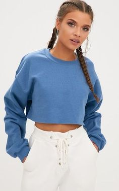 f304bff92ae511 Indigo Ultimate Cropped Sweater. Tops | PrettyLittleThing USA #Sweater  Cropped Jumper Outfit, Crop