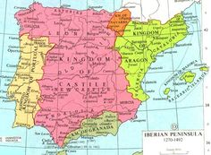 With the union of the kingdoms of Castile and Aragon through the marriage of Ferdinand and Isabella, Catholic Spain was united. Granada finally fell in Map Of Spain, Spain And Portugal, Spain History, Isabella Of Castile, Digital History, Royal Marriage, Iberian Peninsula, Aragon, Historical Maps