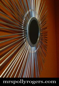 "Make a 24"" Mid Century Modern Star Burst Mirror from STRAWS for 2 DOLLARS tutorial.  Blog & Photos from MrsPollyRogers.com"