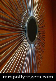 "Make a 24"" Mid Century Modern Star Burst Mirror from STRAWS for 2 DOLLARS tutorial.  DECOR.  Blog & Photos from MrsPollyRogers.com"