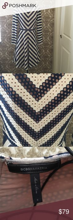 BCBG beautiful a-line dress. BCBG beautiful a-line dress.  In like new condition, only worn once.  Very flattering on.  Dress is fully lined with a nude fabric, only the sleeves are not lined. BCBGMaxAzria Dresses Midi