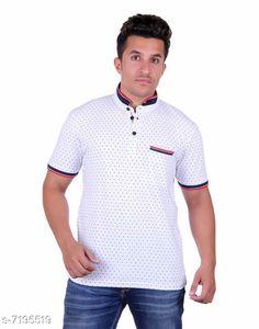 Tshirts Men's Printed Mandarin Collar White T-Shirt Fabric: Cotton Sleeve Length: Short Sleeves Pattern: Printed Multipack: 1 Sizes: S (Chest Size: 39 in Length Size: 27.5 in)  XL (Chest Size: 45 in Length Size: 29 in)  L (Chest Size: 43 in Length Size: 28.5 in)  M (Chest Size: 41 in Length Size: 28 in)  XXL (Chest Size: 47 in Length Size: 29.5 in) Country of Origin: India Sizes Available: S, M, L, XL, XXL, XXXL   Catalog Rating: ★4.2 (501)  Catalog Name: Trendy Elegant Men Tshirts CatalogID_1148540 C70-SC1205 Code: 853-7195519-999