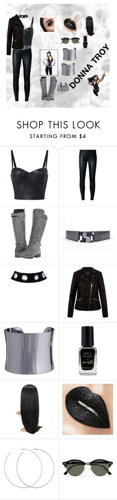 """""""Donna Troy Wonder Girl"""" by agordon9369 ❤ liked on Polyvore featuring MICHAEL Michael Kors, Rocket Dog, Lela Rose, New Look, Morra Designs, Barry M, Allison Bryan, Ray-Ban, Ralph Lauren and blackleather"""