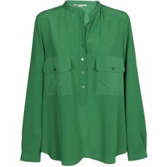 Front Pockets Blouse ($441) ❤ liked on Polyvore featuring tops, blouses, green, womenclothingshirtsbluse, green blouse, long sleeve tops, stella mccartney blouse, long sleeve blouse and button front blouse