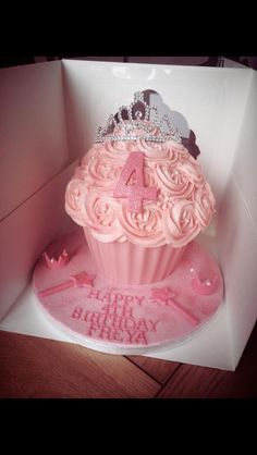 Giant Cupcake Cakes, Cupcake In A Cup, Rose Cupcake, 4th Birthday Cakes, Birthday Ideas, Birthday Cookies, Ballerina Cakes, Ballet Cakes, Wedding Cake With Initials