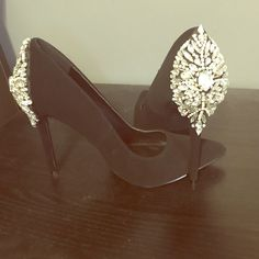 Black studded heals Very chic style pointed toe thin heal crystal appliqué on the back size 7 thin, worn once Shoes Heels